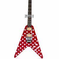 Dot V Shape Electric Guitar Ebony Fingerboard Floyd Rose Bridge Red Color