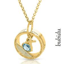 Taufkette Ring Gravur vergoldet Namenskette Kreuz Anhänger Geburtsstein gold