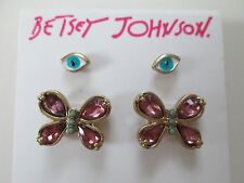 NWT Auth Betsey Johnson Boho Betsey Pink Butterfly Eye Stud Earrings Set