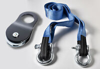 """Kit 10 Ton 3"""" Tow Strap 10 ft winch tree saver+7/8"""" Bow Shackles+Pulley"""