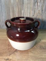 Antique Brown And White Salt Glaze Crock Jar Lid Stoneware Primitive Pottery E1