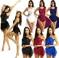 Womens Lyrical Modern Contemporary Ballet Dance Leotard Dress Sequins Dance wear
