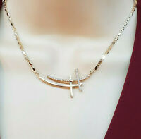 """18K Gold Plated Double Cross with crystals Necklace Chain. 18"""" Oro laminado"""