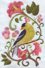 GOLD FINCH IN FLOWERS SET OF 2 BATH HAND TOWELS EMBROIDERED BY LAURA