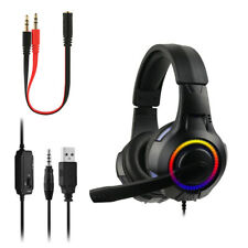 Para PS4 Xbox Nintendo Switch PC 3.5mm Stereo Gaming Headset Auriculares Con Micrófono LED!