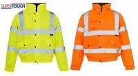 Mens Hi Vis Visibility Viz Premium Safety Bomber Jacket Fleece Lined Work Wear