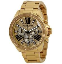 New Michael Kors MK6095 Wren Crystal Gold Glitz Roman Letter Chrono Lady's Watch
