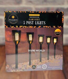 Morocco Flame Effect 5 Post Lights Solar Powered LED Light Garden Lighting NEW