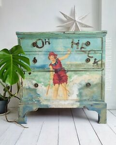 PAINTED TV UNIT chest of drawers sideboard decoupage turquoise blue funky retro