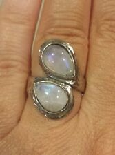 ISRAEL Sterling Silver Double Pear-Shaped RAINBOW MOONSTONE Bypass Ring