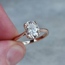 2CT Solitaire Oval Diamond Bridal Engagement Ring Rose Gold Finish Size I - T
