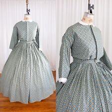 Green and Teal Xxl / Plus Cotton Civil War 1860s Dress Costume Hoop Skirt