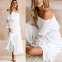Women Long Maxi Off Shoulder Lace Dress Summer Evening Party Beach Sundress US