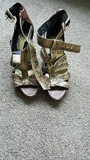 Women's H&M Size 5 Brown and Faux Snakeskin buckle close Heels USED Well worn