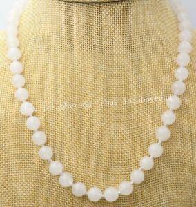 24'' Beautiful 10mm Natural White Nephrite Jade Round Gemstone Beads Necklace AA