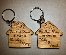 Set Of 2 Personalised Oak Keyrings Our First Home House Warming Gift Wooden