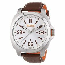 Hugo Boss 1513097 Men's Brisbane Silver Dial Brown Band Watch