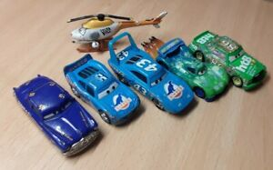 DISNEY CARS Bundle of 6 Vehicles - Racing Cars Including 2 X Dinoco & Helicopter