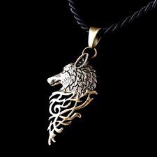 Collier Femme,Homme,Amulette/Rune de Protection,Loup Alpha,Acier,Doré,Viking