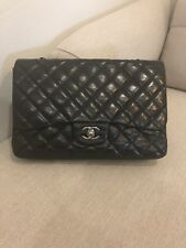 100% Authentic Chanel Black Lambskin Quilted Jumbo Single Flap Bag