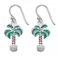 Silver and enamel palm tree earrings