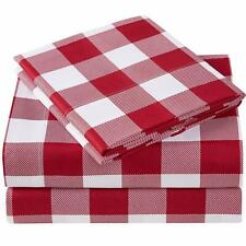 Mellanni Checkered Sheets, Deep Pocket Microfiber 4-Piece Sheet Set (Plaid Red)