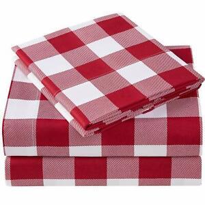 Mellanni Checkered Sheets, Deep Pocket Microfiber 4-Piece Sheet Set (Plaid Red)