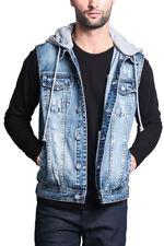 Victorious Men's Distressed Detachable Hoodie Denim Vest Jacket DK108-GG1f