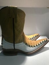 kids Leather Boots/ Pointed Toe/ White & Wheat Authentic Ostrich Leather/ Size 1