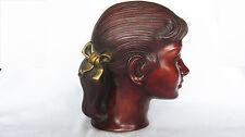 Achatit Wandmaske • Original Label • um 1950 / 60    Mädchen mit Haarschleife