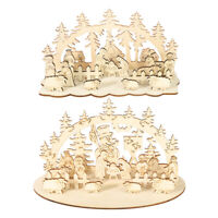 2Pcs Ornaments Beautiful Cute Christmas Wooden Desktop Ornament for Store Office