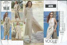 Vogue 2545 sewing pattern ADRI JACKET Halter TOP SKIRT CULOTTES sew sizes 6-8-10