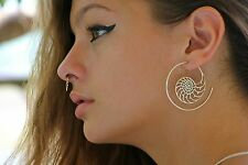 Exotic 925 Sterling Silver Earring Spiral Gypsy Unique Tribal Women Hoops Ethnic