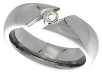 Tungsten Carbide Ring Men Women Wedding Band Domed Ladies CZ Tension Set 6mm