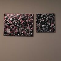 Original Abstract Acrylic Pour Painting On Canvas (Ready To Hang ) 10x10, 16x12