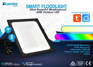 Outdoor Floodlight 60w LED SMART Bluetooth, IP66, RGB, SAA, Dimmable, Aust. Std.