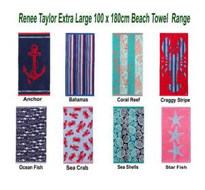 Renee Taylor 100% Cotton Jacquard Velour Extra Large Beach Towels 100 x 180cm