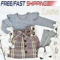 Toddler Kids Baby Girls Outfits Ruffled Clothes Plaid Shirt Tops +Tutu Dress