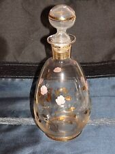 "Decanter Clear Glass with Pink Roses and Golden Stems Hollow Bulb Top 8 ¾"" Tall"