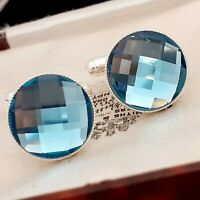 Vintage Style - Faceted Aqua Blue Glass - 15mm Round Silver tone Cufflinks