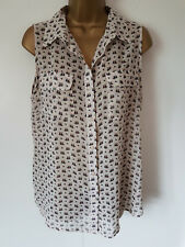 Next chiffon sleeveless blouse size 14 blue owl print on soft white / cream top
