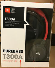 JBL T300A Stereo On-Ear Headphones Black Red PureBass Mic Remote iPhone Android