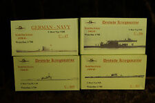 HP Models 1:700 WL Deutsches U-Boot Konvolut 1   -4 U-Boote  -1939/45- aus Resin