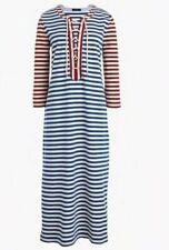 J CREW Blue White Red Stripe Cotton Knit Lace-Up Neck Long Dress XS G3607