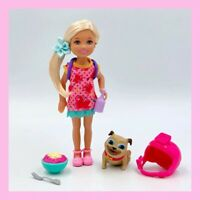 Chelsea Barbie Doll Blonde w/ Blue Eyes in Pink Outfit w/ Pet + Accessories
