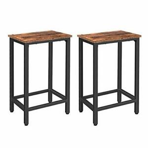 HOOBRO Bar Stools, Set of 2 Bar Chairs with Footrest, Black Steel Frame, for