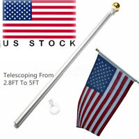 5 Ft Tangle Free Spinning Flagpole with Adjustable Wall Mount 3x5 ft Flag Pole