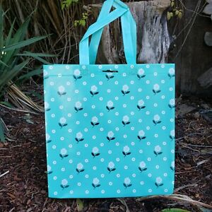 Patty Reed collectible reusable grocery bag ! daisies teal flower polka dot sack