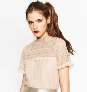 ZARA Embroidered Blouse, Small, NWT