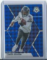 2020 Panini Mosaic Lamar Jackson Blue Prizm /99 Card #19 Baltimore Ravens